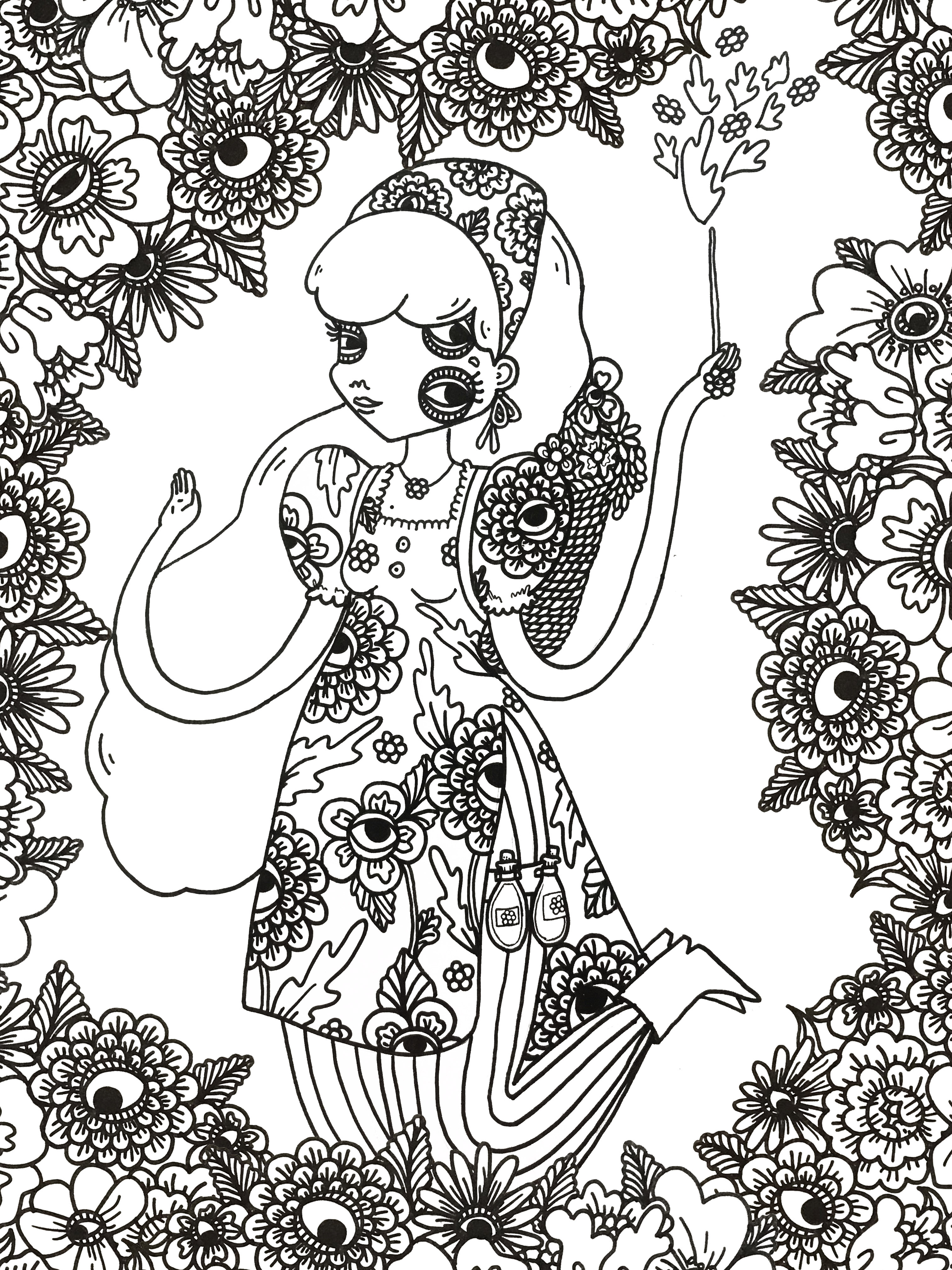 Floral Witch Coloriage NB